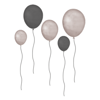 That´s Mine - wallsticker - balloons - Grey/brown - 5 stk.